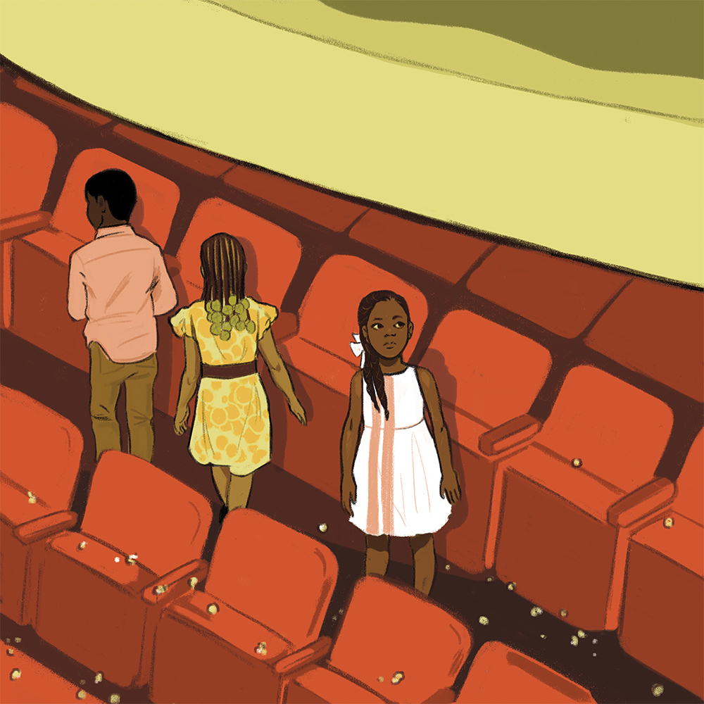 An illustration of three Black children in an auditorium setting, standing in front of theater seats. One girl is looking back and upwards. Small white pieces of paper are scattered on the seats and floor.