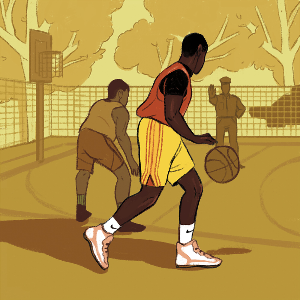 An illustration of two Black men playing basketball, and a police officer with his hand up, palm straight.