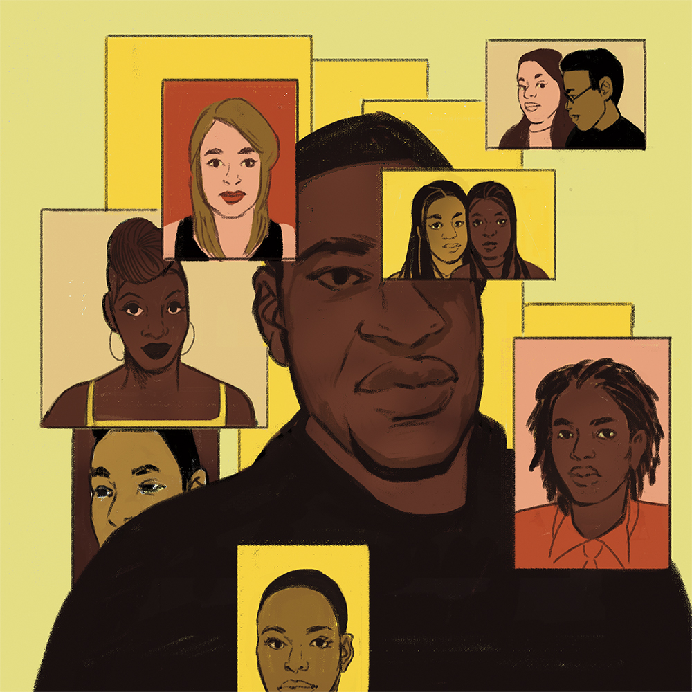 An illustrated portrait of George Floyd, surrounded by portraits of other Black people.