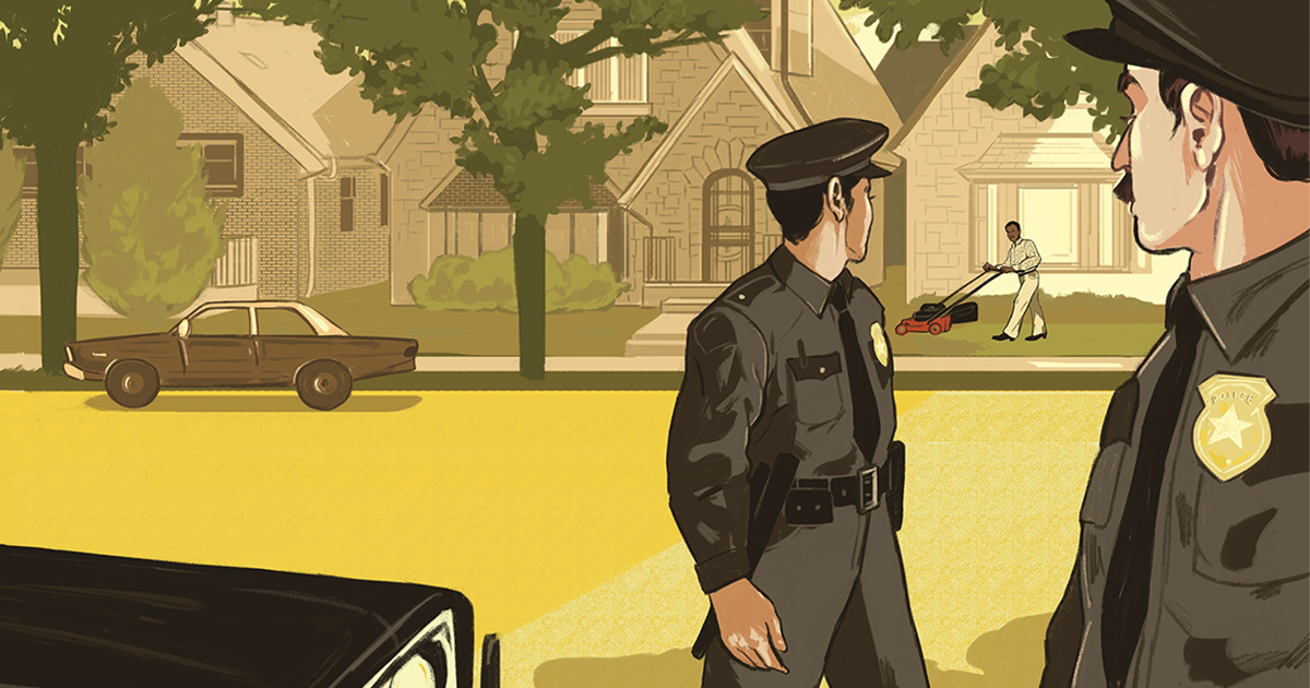 Illustration of two white police officers staring at a Black man mowing a lawn on a suburban street.