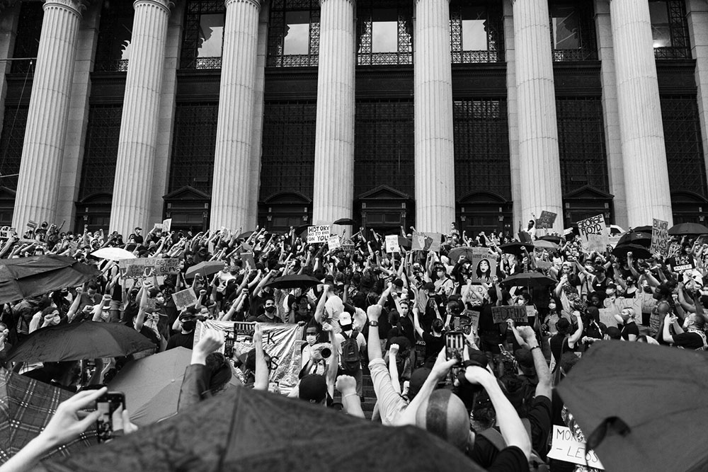 A wide view of a large protest in New York City over the murder of George Floyd.